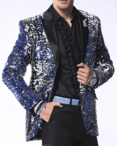 Mens fashion Blazer Coat-Sico Blue/Black/Silver/White
