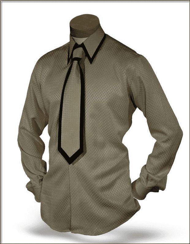 Men's New Fashion Angelino Silk Shirts SJ Beige - ANGELINO
