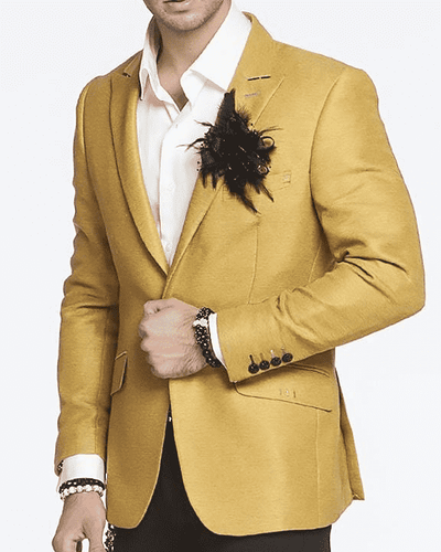 Men's New Fashion Blazer and Sport Coat Peak Gold - ANGELINO