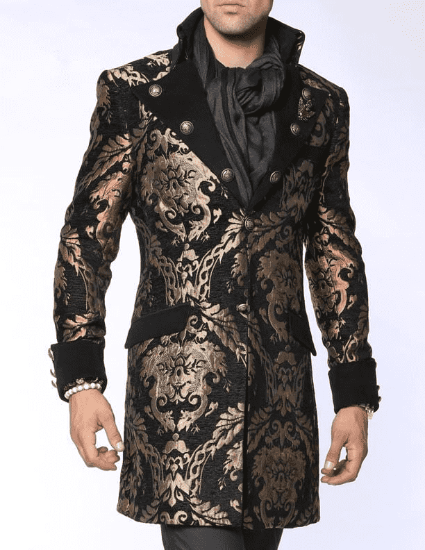 fashion black long coat with gold victorian motif and big lapel