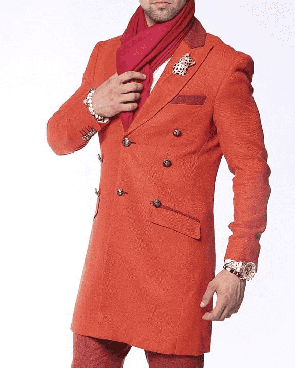 orange long coat for men, victorian style, herringbone pattern, casual look,