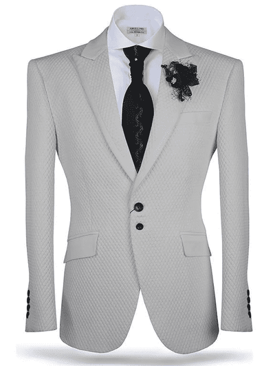 Fashion Sport Coat/Blazer-Vito White & Silver - ANGELINO