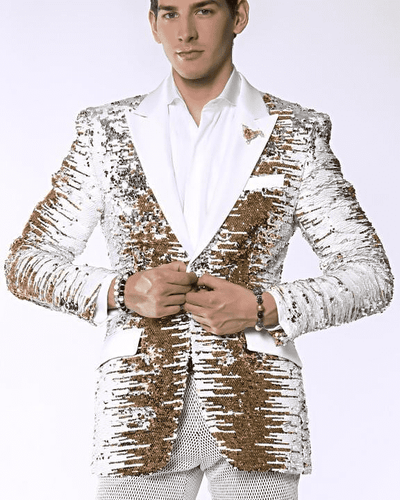 Fancy sequins blazer and Sport Coat Gold/White/Silver with white lapel