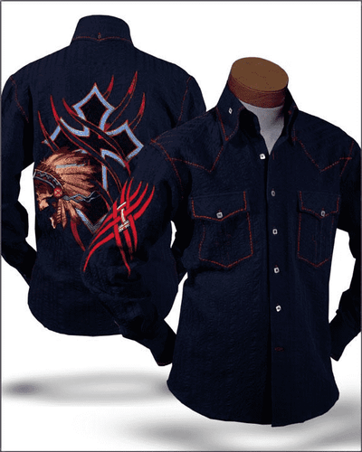 Men's Fashion Shirt Indian Navy/Red - cotton - shirts - Casual