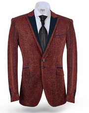 Fashion Sport Coat Blazer Lurex Red - ANGELINO