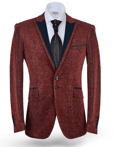 Fashion Blazer, Lurex Red - Mens - Coats - Tuxedo - ANGELINO