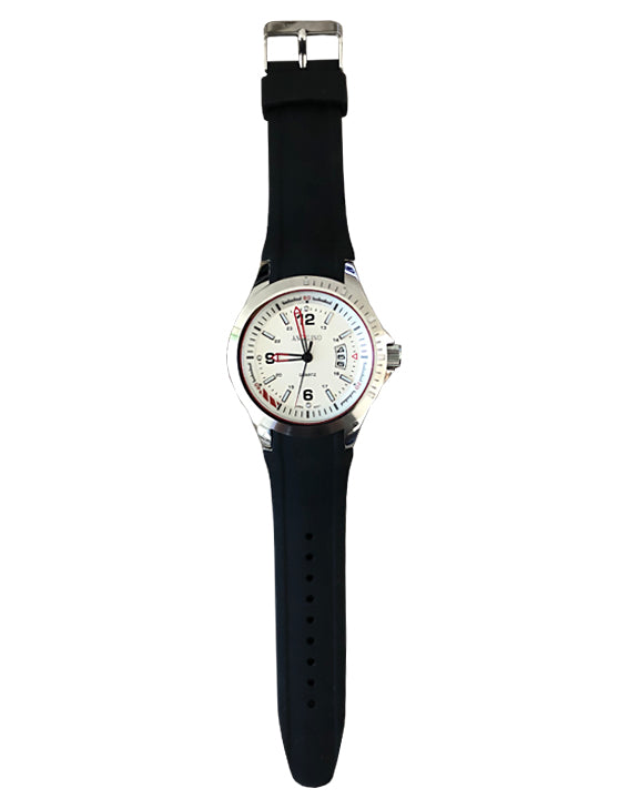 Men's Fashion Watch , Silver body, white face and black band- 2