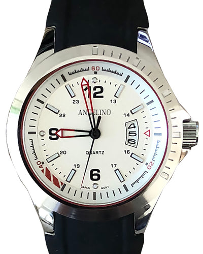 Men's Fashion Watch , Silver body, white face and black band