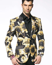 Prom Blazer B. Flower Yellow -38R-  Prom - Tuxedo - Wedding - ANGELINO