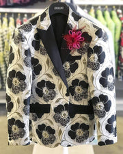 Prom Blazer B. Flower Black/White -40 Long- - ANGELINO
