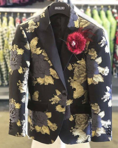 Prom Blazer B. Rose Black/Gold . Tuxedo, Prom - ANGELINO
