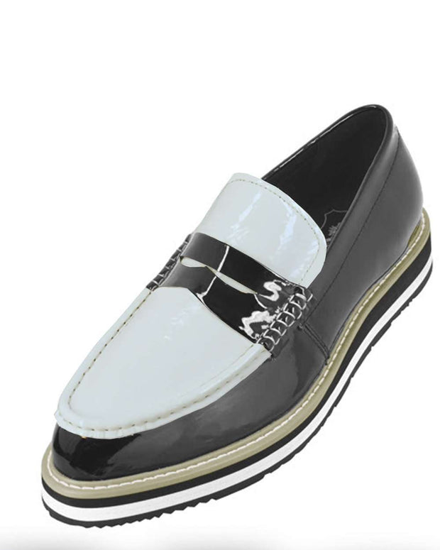 Men's Leather Loafer shoes, Black and White - ANGELINO