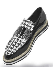 Men's Leather Loafer - Bahama Houndstooth - ANGELINO