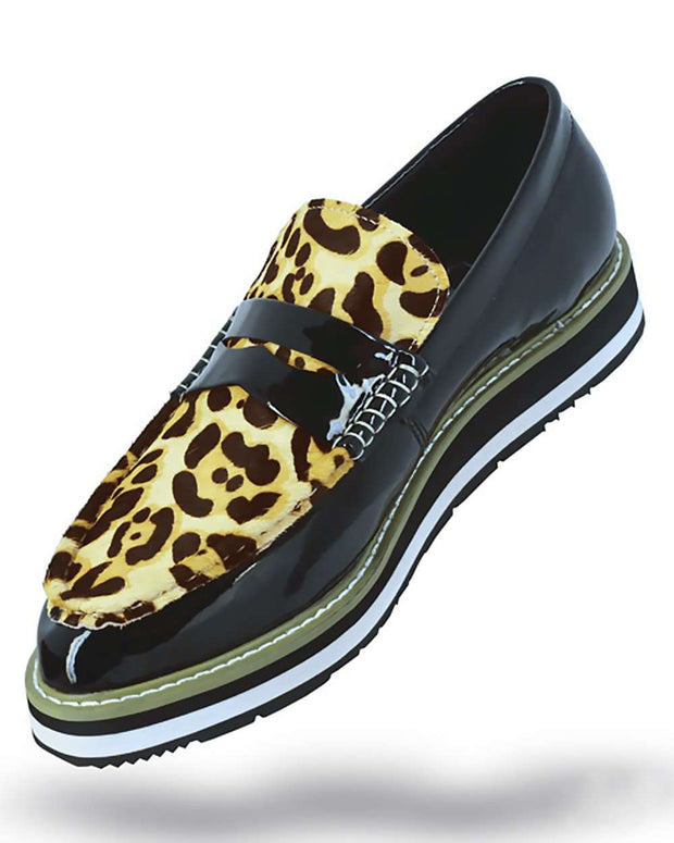 Men's Leather shoes, Loafer Slip On - Bahama Leopard- Fashion Shoes - ANGELINO