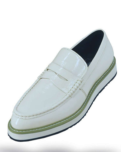 Men's Leather Shoes, Loafer Bahama White - Slip on - Fashion - Men - ANGELINO