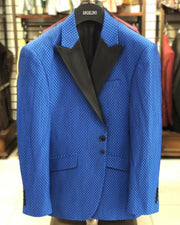 Men's Blue Jacket - Blue Dot - prom - wedding - men's jacket - Dinner Jacket - ANGELINO