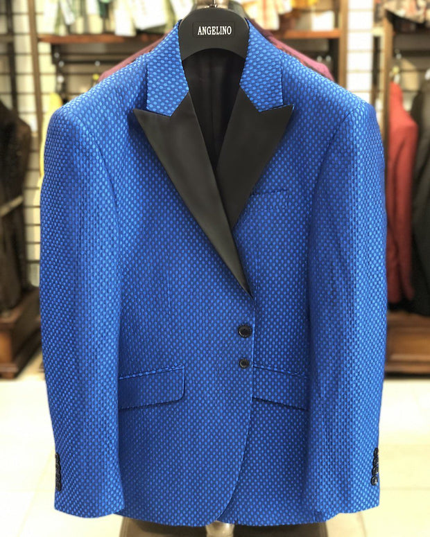 Men's Blue Jacket - Blue Dot - prom - wedding - men's jacket - Dinner Jacket
