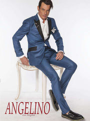 Tuxedo Suits: CL M. Blue with black lapel - 2 - ANGELINO
