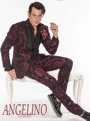 Mens suit, Burgundy prom suit with paisley motives and black lapel -2