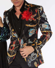blazer for men printed black satin with gold horse racing accessories