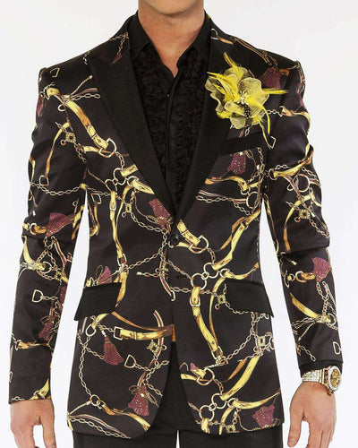 Blazer for men, Chain and tasel design on black satin fabric with black lapel - ANGELINO