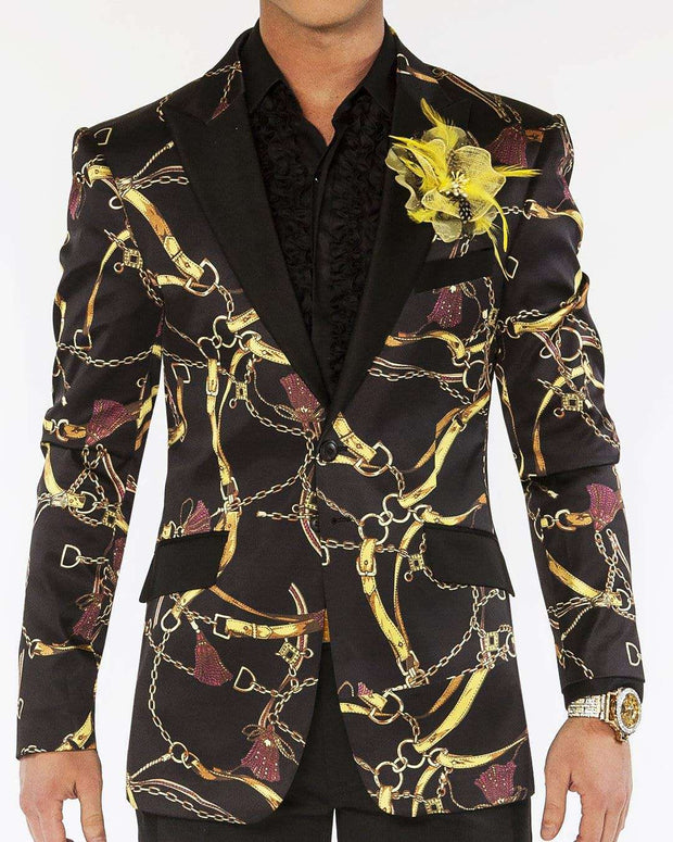 blazer for men with gold chain and Tassels in black fabric