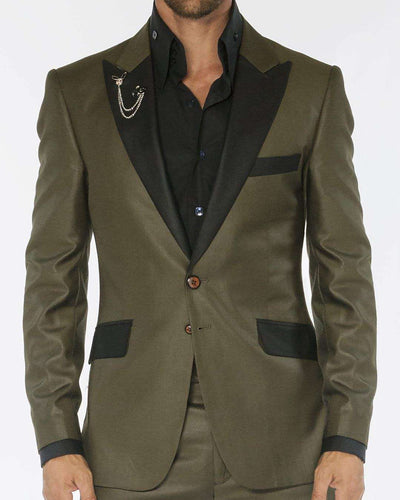 green solid tuxedo suits with black peak lapel and flap pockets