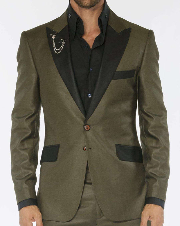 Tuxedo Suit, Military green shiny fabric with black lapel | ANGELINO