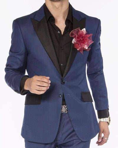 Tuxedo Suit, Dark Blue with black lapel and pocket flaps.  ANGELINO
