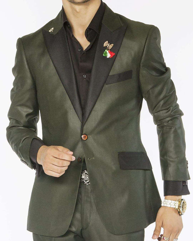 dark green solid tuxedo suits with black peak lapel and flap pockets