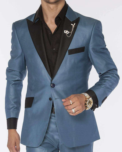 Light blue solid tuxedo suits with black peak lapel and flap pockets