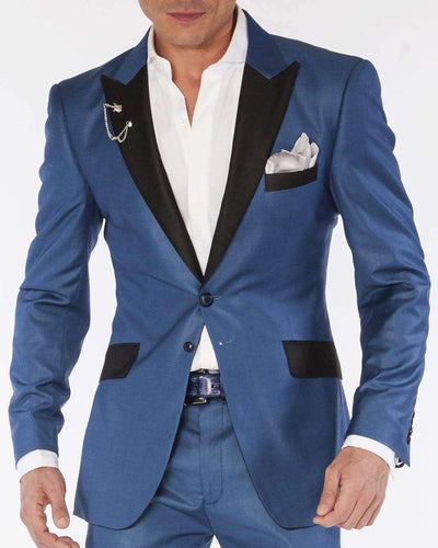 blue solid tuxedo suits with black peak lapel and flap pockets