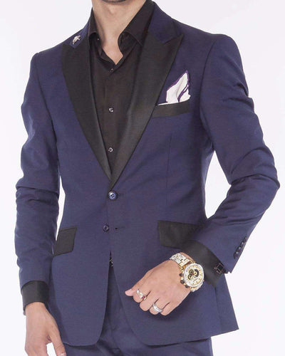 Tuxedo Suit,  Navy blue tuxedo suit with black pick lapel and pocket flap. ANGELINO