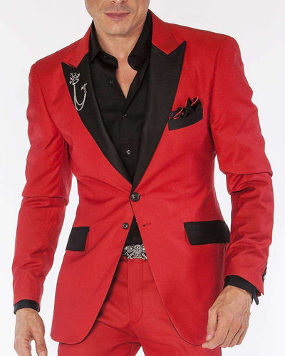 red solid tuxedo suits with black peak lapel and flap pockets