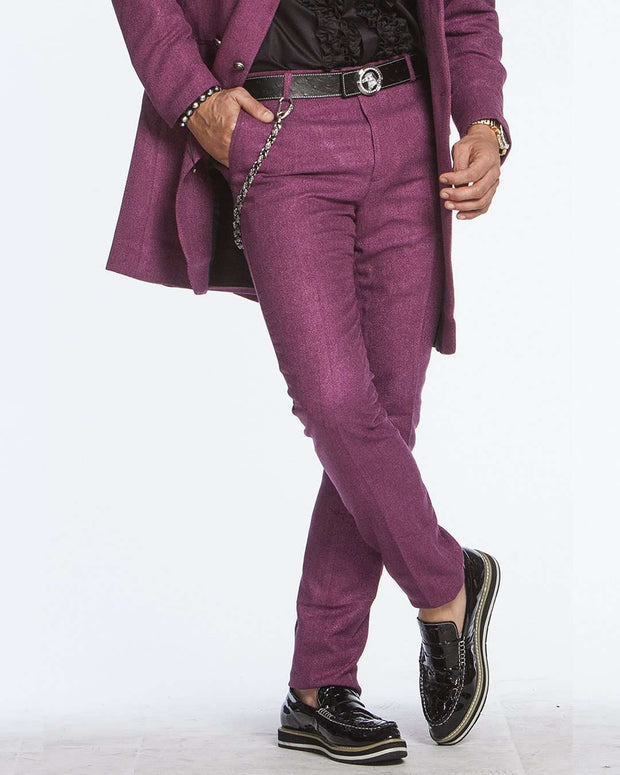 Men's Slim-fit Twill Pants: Como Purple - ANGELINO