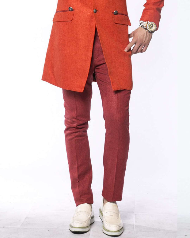 Men's Slim-fit Twill Pants: Como Rust - ANGELINO