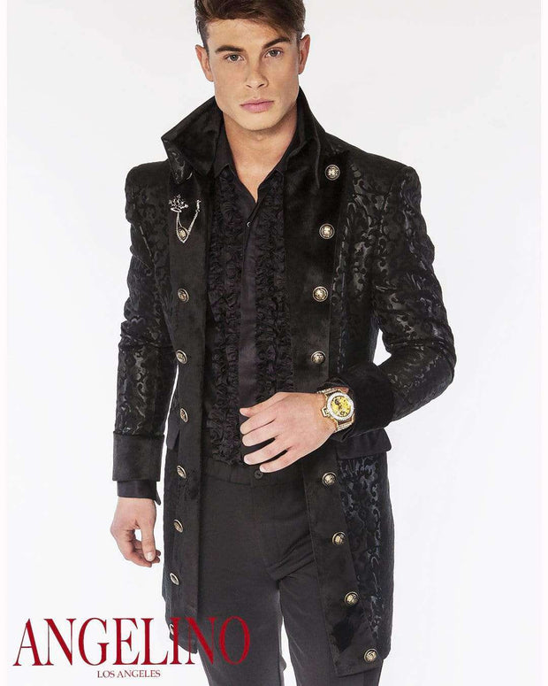Men's Fashion Long Coat-Cosimo Black - ANGELINO
