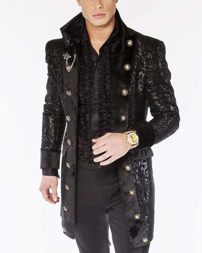 men's victorian black long coat