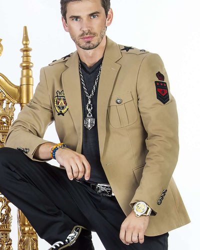 sport coat and fashion blazer with patches in military color with patches on right arm and chest.