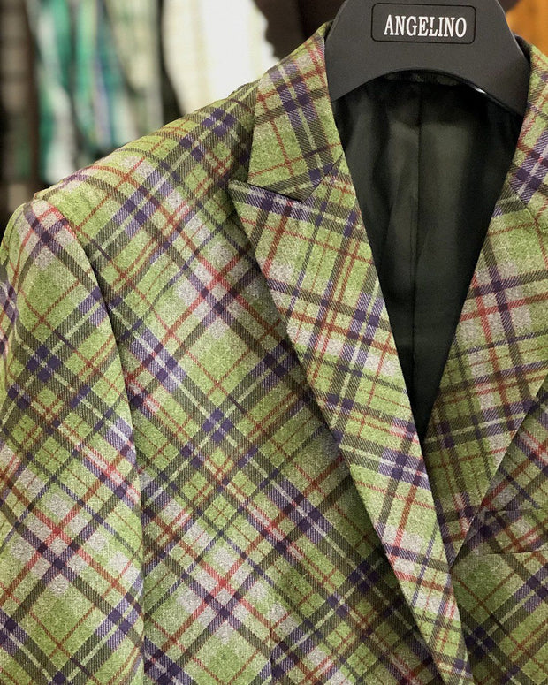 Men's Sport Coat - Elvis Green - Casual Jacket - Plaid blazer for men - ANGELINO