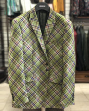 plaid casual sport coat, green blazer for men, men's winter jacket for sale