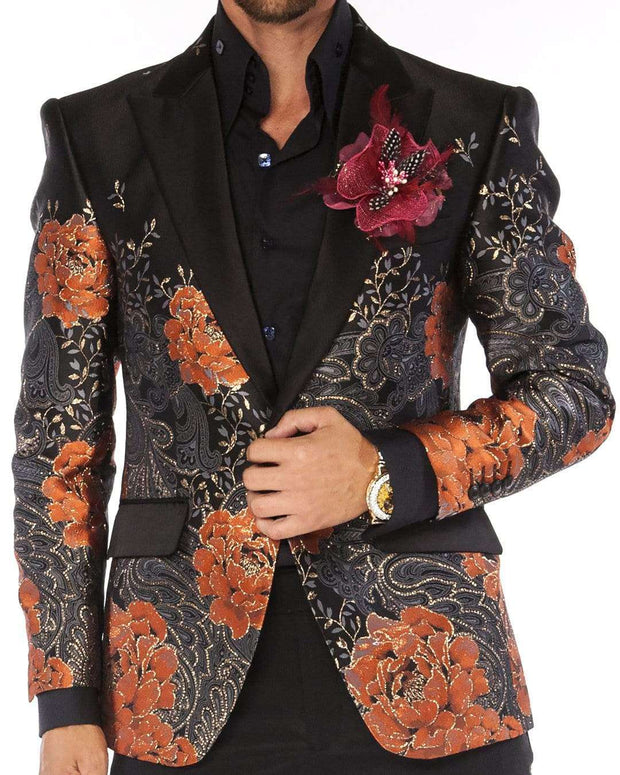 Blazer for men orange flower and gold paisly design