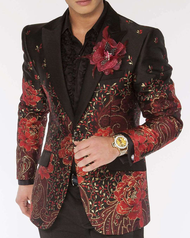 Blazer for men with gold paisley and red flowers