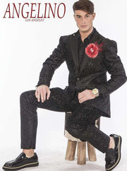 Mens Suits: Tuxedo looking suit in Black with black satin lapel - 2 - ANGELINO