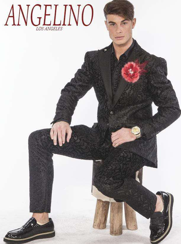 Mens Suits: Salsa Black with black satin lapel - 2 - ANGELINO