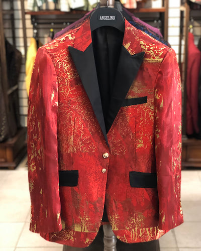 Men's Black Blazer - Forest Red - prom - wedding - men's jacket - ANGELINO