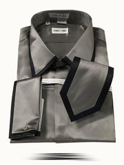 Men's Fashion Silk Shirts SS-A Gray - ANGELINO