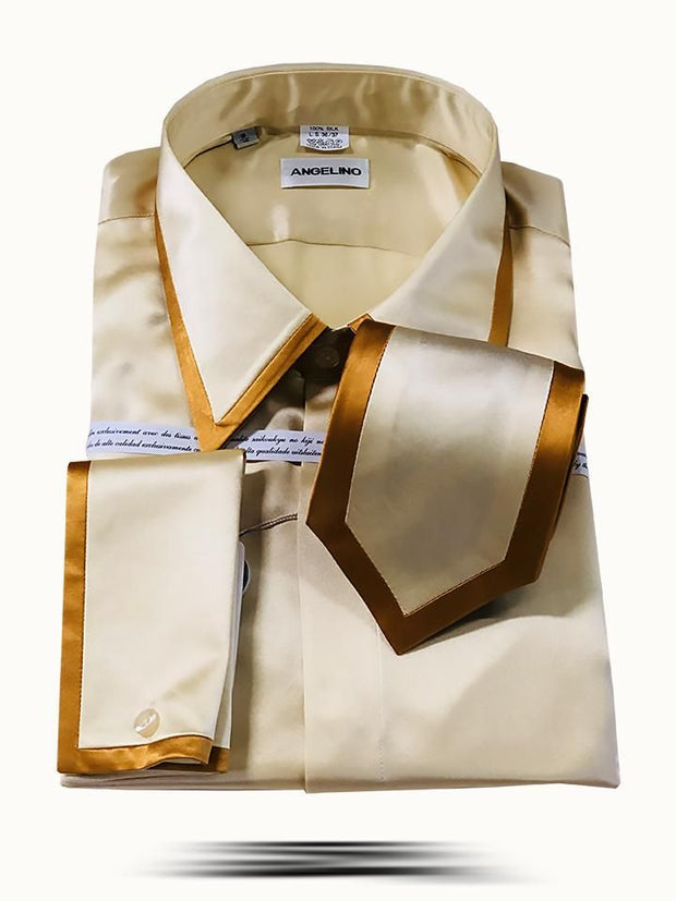 Men's Fashion Silk Shirts SS-A Gold - ANGELINO