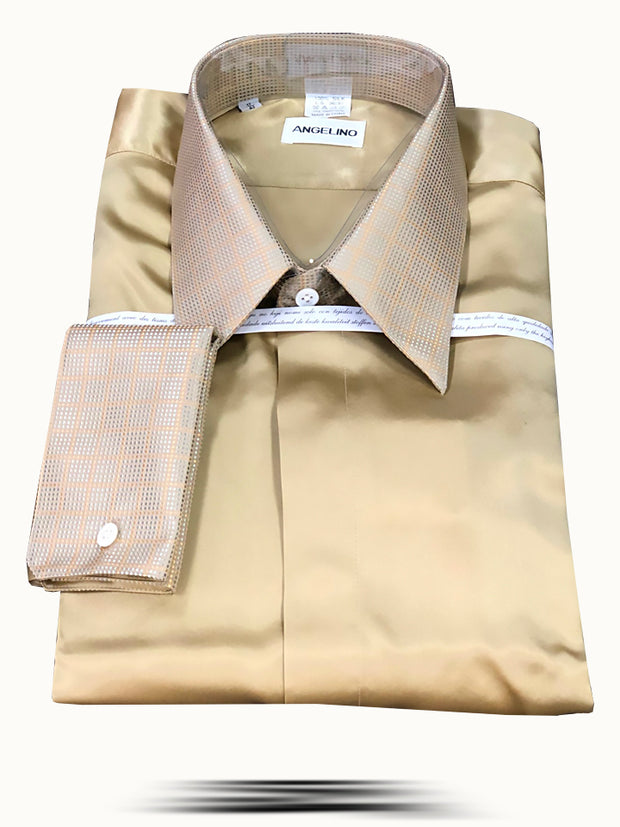 Men's Fashion Silk Shirts SS03-3 Gold - ANGELINO