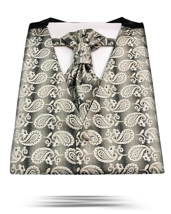 Men's Fashion Vest Set with ascot tie- ANGELINO